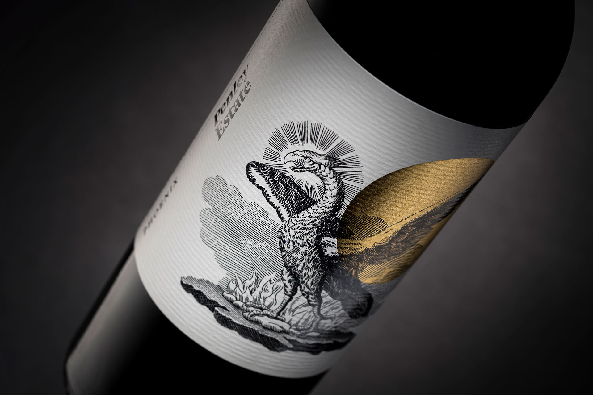 Wine Embossed Label Penley Estate Adelaide Photography